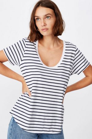 Cotton On Essential Tees | Womens The One Scoop Tee Cole Stripe White/Moonlight