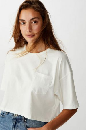 Cotton On Essential Tees | Womens The Slouch Pocket Tee Gardenia