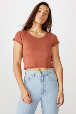 Cotton On Essential Tees | Womens Turnback Short Sleeve Top Dusty Brown