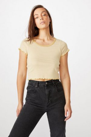 Cotton On Essential Tees | Womens Turnback Short Sleeve Top Kenny Stripe New Wheat/Gardenia