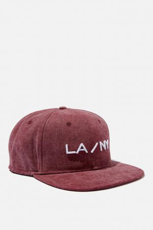 Cotton On Hats | Mens Art Snapback Washed Burgundy/La-Ny