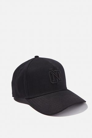 Cotton On Hats | Mens Curved Peak Snapback Black/Black/Nyc