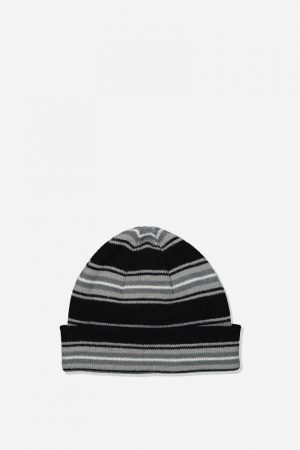 Cotton On Hats | Mens Wharfie Beanie Black/Grey/White Stripe