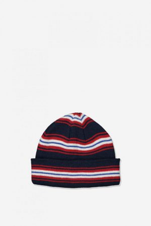 Cotton On Hats | Mens Wharfie Beanie Navy/Red/White Stripe