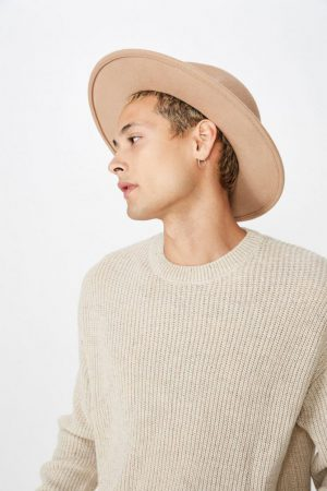 Cotton On Hats | Mens Wide Brim Felt Hat Brown