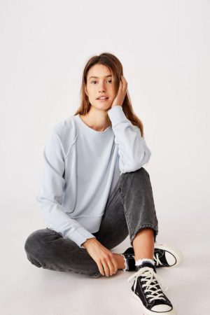 Cotton On Hoodies & Sweatshirts | Womens Aria Raw Edge Raglan Crew Sunfaded Denim Garment Pigment Dye