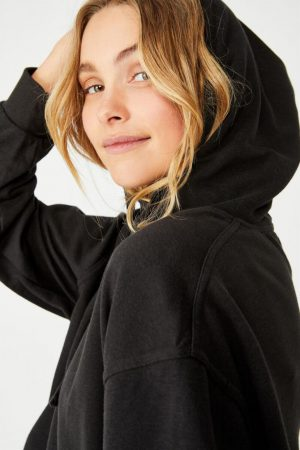 Cotton On Hoodies & Sweatshirts | Womens Harper Boxy Hoodie Graphic Fleece Washed Black