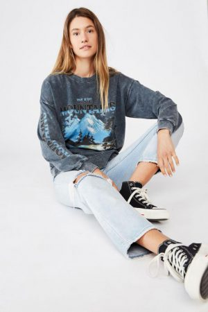Cotton On Hoodies & Sweatshirts | Womens Lulu Graphic Maxi Crew Blue Mountains/Midnight Pigment Snow Wash