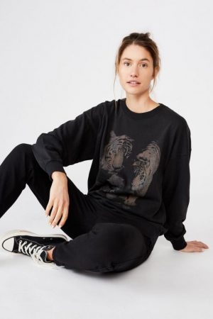Cotton On Hoodies & Sweatshirts | Womens Lulu Graphic Maxi Crew Tigers Bike/Black Pigment Dye Enzyme Wash