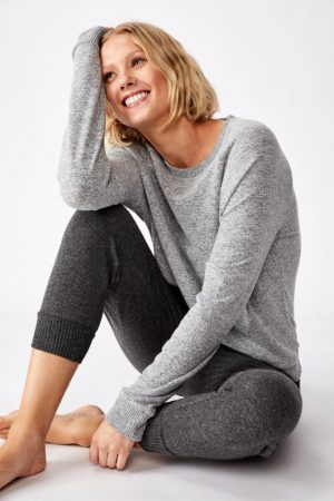 Cotton On Hoodies & Sweatshirts | Womens Supersoft Pocket Crew Grey Marle