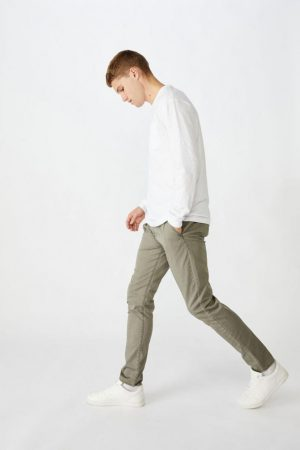 Cotton On Joggers | Mens Skinny Stretch Chino Washed Khaki