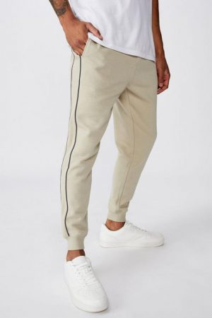 Cotton On Joggers | Mens Trippy Slim Trackie Oatmeal/Piping