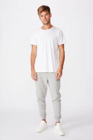 Cotton On Joggers | Mens Trippy Slim Trackie Peached Grey Marle