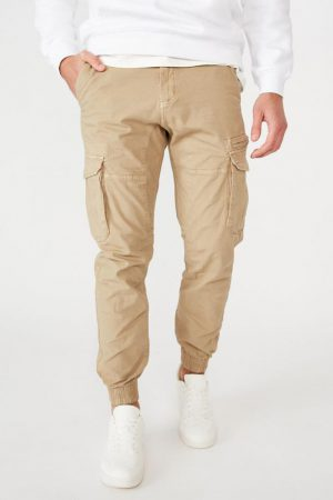 Cotton On Joggers | Mens Urban Jogger Washed Sand Cargo