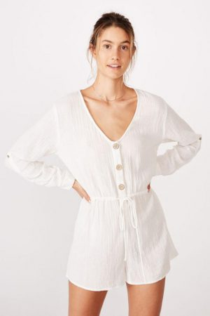 Cotton On Jumpsuits & Rompers | Womens Woven Dana Long Sleeve Playsuit White