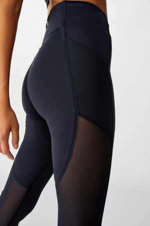 Cotton On Leggings | Womens Binded Mesh Capri Tight Navy