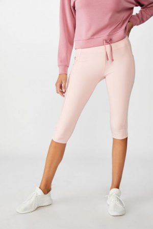 Cotton On Leggings | Womens Binded Mesh Capri Tight Peony Pink