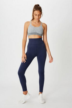 Cotton On Leggings | Womens Crochet Seamless 7/8 Tight Washed Navy
