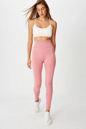 Cotton On Leggings | Womens Crochet Seamless 7/8 Tight Washed Rose