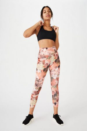 Cotton On Leggings | Womens Lifestyle 7/8 Tight Water Coloured Patchwork