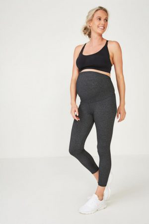 Cotton On Leggings | Womens Maternity Core 7/8 Tight Charcoal Marle