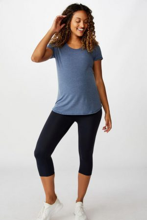 Cotton On Leggings | Womens Maternity Core Capri Over Belly Tight Navy