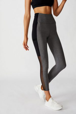 Cotton On Leggings | Womens Mesh Pocket 7/8 Tight Concrete Marle/Black