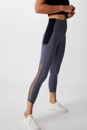 Cotton On Leggings | Womens Mesh Pocket 7/8 Tight Storm Blue/Navy