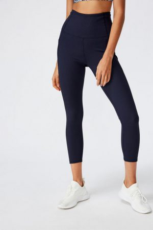 Cotton On Leggings | Womens Rib 7/8 Tight Navy Rib