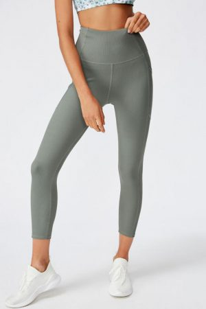 Cotton On Leggings | Womens Rib 7/8 Tight Oil Green Rib