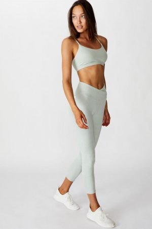 Cotton On Leggings | Womens Rib Cross Over 7/8 Tight Washed Aloe Marle