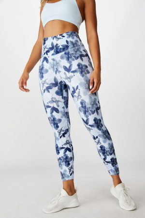 Cotton On Leggings | Womens So Soft Marle 7/8 Tight Blue Layered Floral