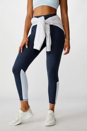 Cotton On Leggings | Womens So Soft Marle 7/8 Tight Navy Marle Splice