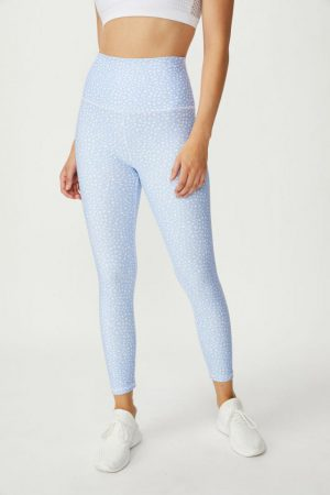 Cotton On Leggings | Womens Ultimate Studio 7/8 Tight Speckle Spot Animal Blue
