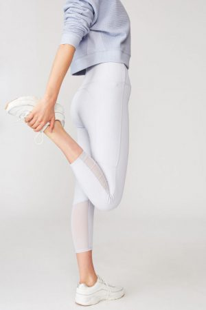 Cotton On Leggings | Womens Workout Rib Mesh 7/8 Tight Blue Zen