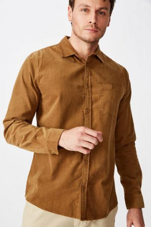Cotton On Long Sleeve | Mens Festival Long Sleeve Shirt Tan