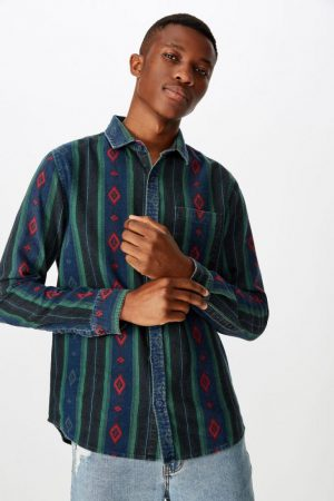 Cotton On Long Sleeve | Mens Festival Long Sleeve Shirt Worn Blue Western
