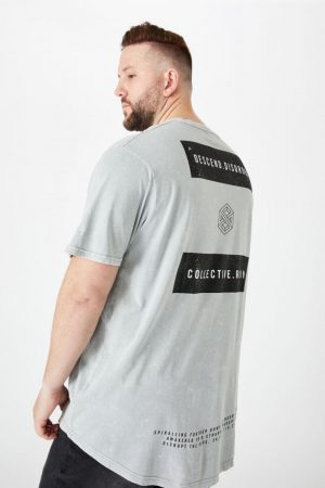 Cotton On Longline | Mens Bg Longline Scoop Hem Tee Overcast Grey Collective Ruin