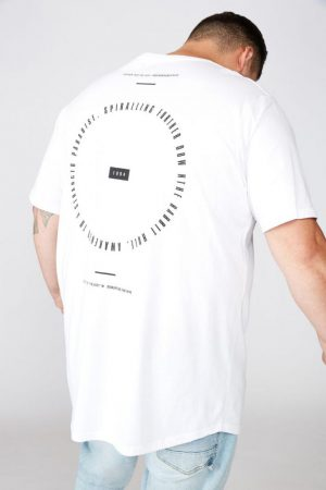 Cotton On Longline | Mens Bg Longline Scoop Hem Tee White Further Into The Void