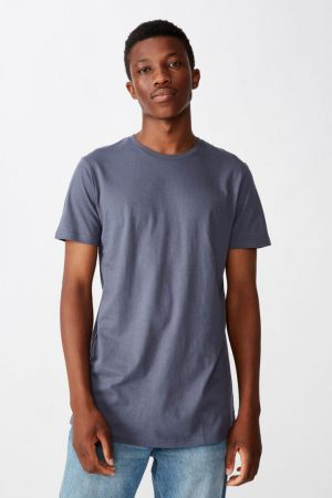 Cotton On Longline | Mens Essential Longline Scoop Tee Dusty Denim