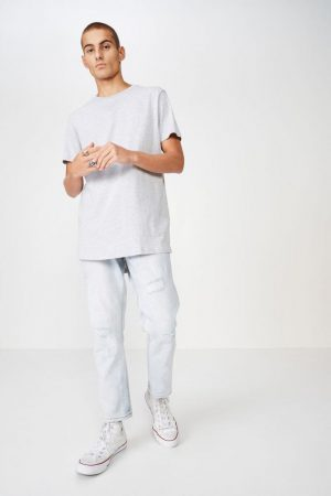 Cotton On Longline | Mens Essential Longline Scoop Tee Light Grey Marle