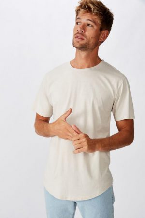 Cotton On Longline | Mens Longline Scoop Burnout Tee Smoke