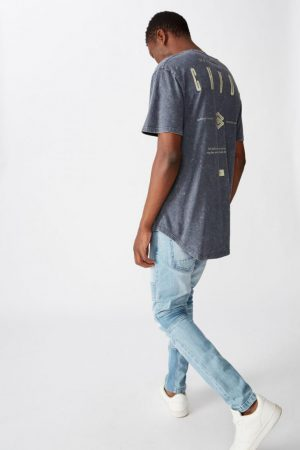 Cotton On Longline | Mens Longline Scoop Tee Late Night Blue Chaos