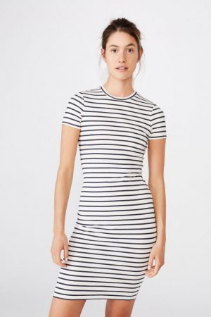 Cotton On Midi | Womens Essential Short Sleeve Bodycon Midi Dress Cole Stripe White/Moonlight Rib