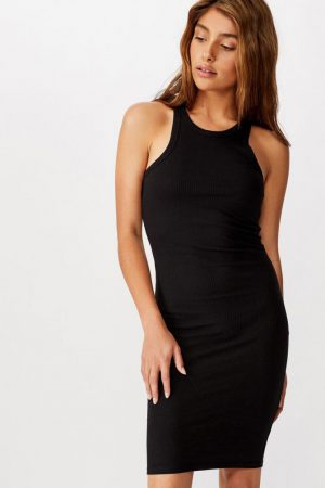 Cotton On Midi | Womens Kirsty Racerback Bodycon Midi Dress Black Rib