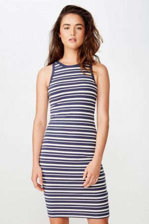 Cotton On Midi | Womens Lena Midi Dress Ashley Stripe Navy