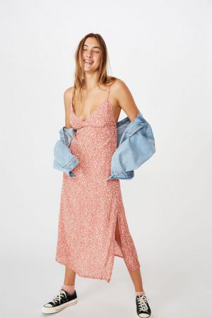 Cotton On Midi | Womens Woven Veronica V Midi Slip Dress Piper Animal Canyon Rose