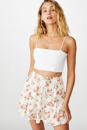 Cotton On Mini | Womens Penny Tiered Mini Skirt Libby Rose Gardenia