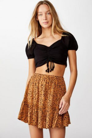 Cotton On Mini | Womens Penny Tiered Mini Skirt Piper Animal Biscuit