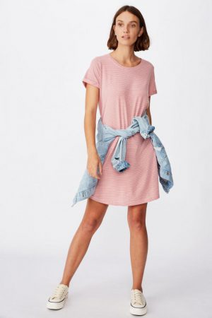 Cotton On Mini | Womens Tina Tshirt Dress 2 Mini Molly Stripe Faded Rose/White